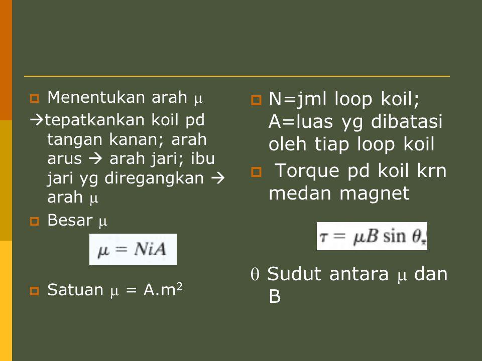  Menentukan arah   tepatkankan koil pd tangan kanan; arah arus  arah jari; ibu jari yg diregangkan  arah   Besar   Satuan  = A.m 2  N=jml l