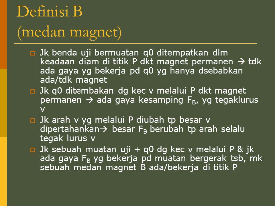 Definisi B (medan magnet)  Jk benda uji bermuatan q0 ditempatkan dlm keadaan diam di titik P dkt magnet permanen  tdk ada gaya yg bekerja pd q0 yg h