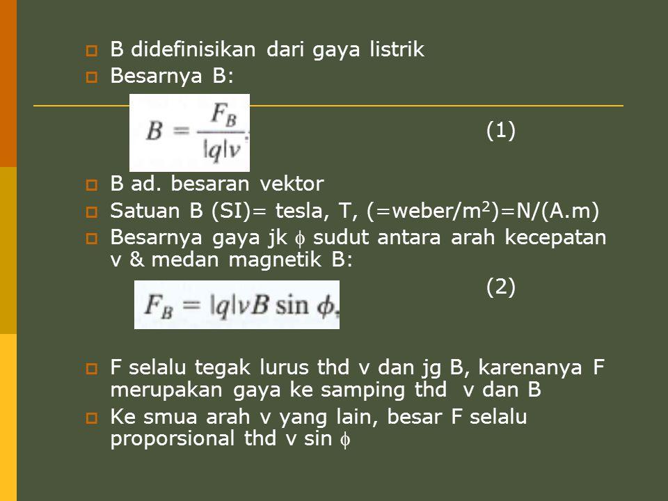  B didefinisikan dari gaya listrik  Besarnya B: (1)  B ad. besaran vektor  Satuan B (SI)= tesla, T, (=weber/m 2 )=N/(A.m)  Besarnya gaya jk  sud