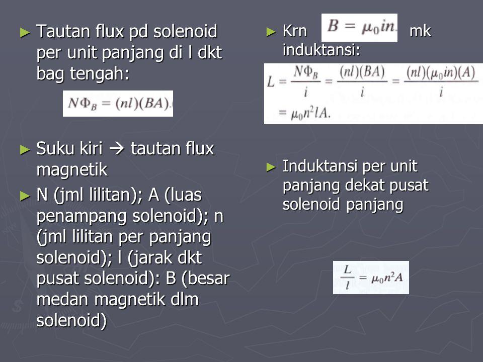 ► Tautan flux pd solenoid per unit panjang di l dkt bag tengah: ► Suku kiri  tautan flux magnetik ► N (jml lilitan); A (luas penampang solenoid); n (
