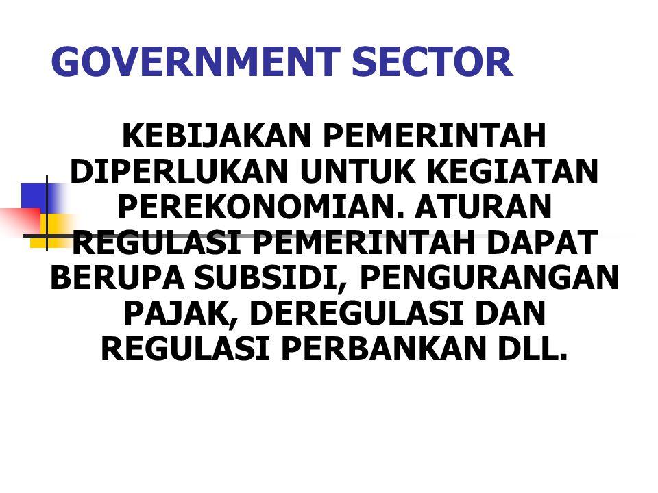 GOVERNMENT SECTOR KEBIJAKAN PEMERINTAH DIPERLUKAN UNTUK KEGIATAN PEREKONOMIAN. ATURAN REGULASI PEMERINTAH DAPAT BERUPA SUBSIDI, PENGURANGAN PAJAK, DER
