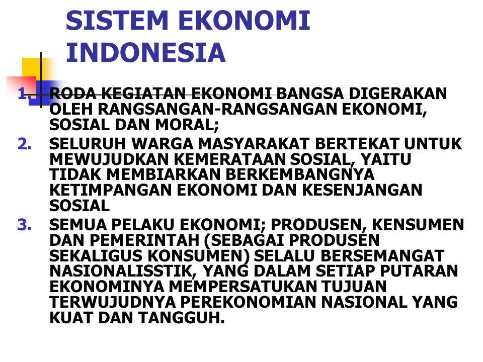 SISTEM EKONOMI INDONESIA 1.RODA KEGIATAN EKONOMI BANGSA DIGERAKAN OLEH RANGSANGAN-RANGSANGAN EKONOMI, SOSIAL DAN MORAL; 2.SELURUH WARGA MASYARAKAT BER