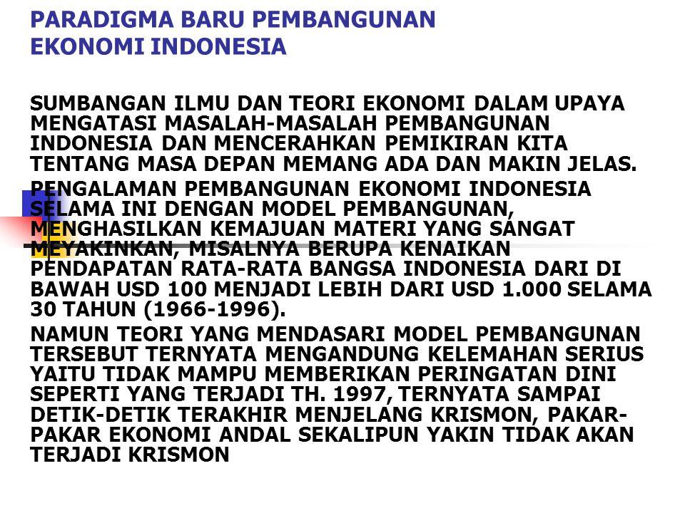 PARADIGMA BARU PEMBANGUNAN EKONOMI INDONESIA SUMBANGAN ILMU DAN TEORI EKONOMI DALAM UPAYA MENGATASI MASALAH-MASALAH PEMBANGUNAN INDONESIA DAN MENCERAHKAN PEMIKIRAN KITA TENTANG MASA DEPAN MEMANG ADA DAN MAKIN JELAS.