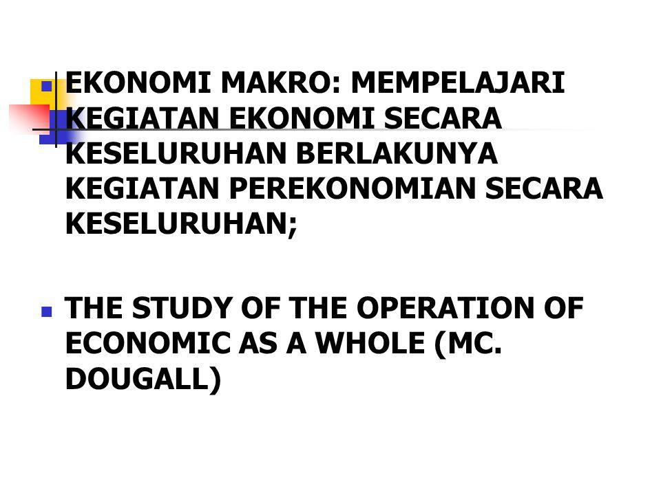 EKONOMI MAKRO: MEMPELAJARI KEGIATAN EKONOMI SECARA KESELURUHAN BERLAKUNYA KEGIATAN PEREKONOMIAN SECARA KESELURUHAN; THE STUDY OF THE OPERATION OF ECONOMIC AS A WHOLE (MC.
