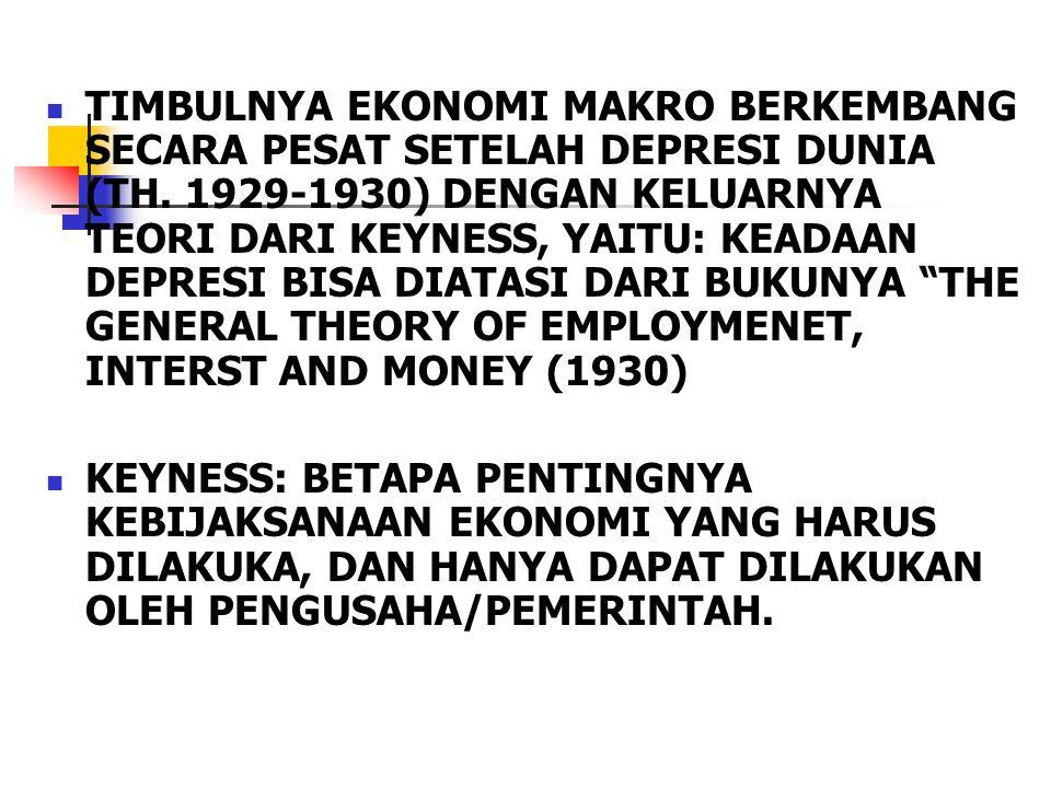 TIMBULNYA EKONOMI MAKRO BERKEMBANG SECARA PESAT SETELAH DEPRESI DUNIA (TH. 1929-1930) DENGAN KELUARNYA TEORI DARI KEYNESS, YAITU: KEADAAN DEPRESI BISA