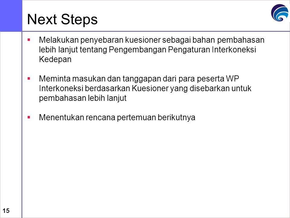 15 Next Steps  Melakukan penyebaran kuesioner sebagai bahan pembahasan lebih lanjut tentang Pengembangan Pengaturan Interkoneksi Kedepan  Meminta ma