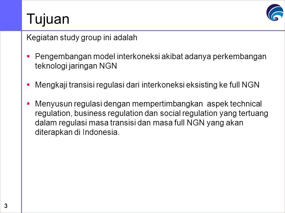 3 Tujuan Kegiatan study group ini adalah  Pengembangan model interkoneksi akibat adanya perkembangan teknologi jaringan NGN  Mengkaji transisi regul