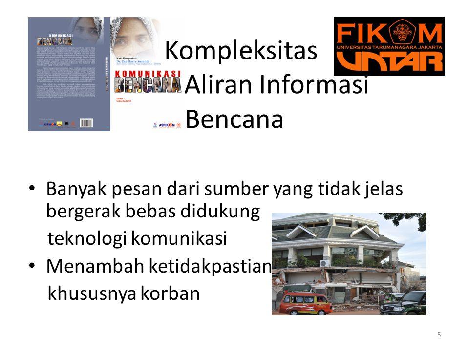 Kompleksitas Aliran Informasi Bencana Informasi dari pemerintah belum sepenuhnya dipakai oleh masyarakat.