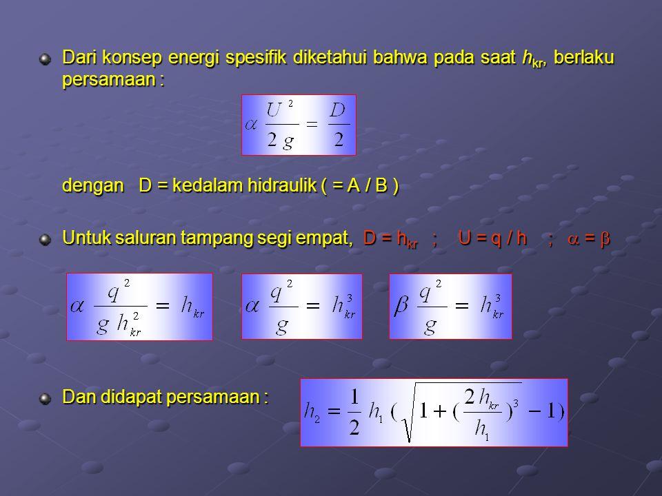 Dari konsep energi spesifik diketahui bahwa pada saat h kr, berlaku persamaan : dengan D = kedalam hidraulik ( = A / B ) Untuk saluran tampang segi em