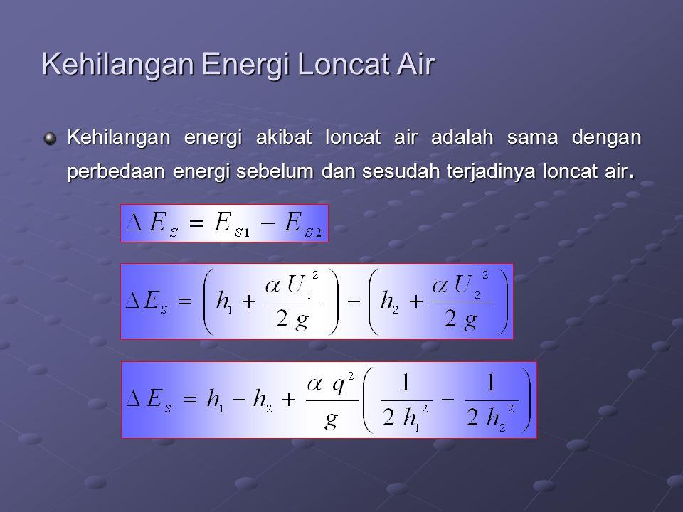 Kehilangan Energi Loncat Air Kehilangan energi akibat loncat air adalah sama dengan perbedaan energi sebelum dan sesudah terjadinya loncat air.