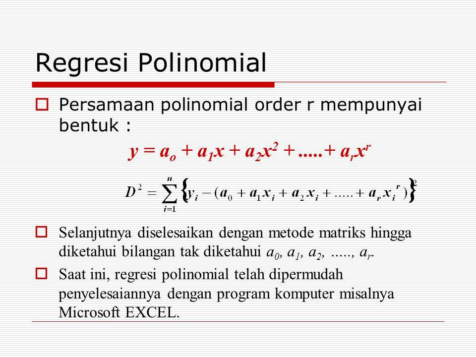 Regresi Polinomial  Persamaan polinomial order r mempunyai bentuk : y = a o + a 1 x + a 2 x 2 +.....+ a r x r  Selanjutnya diselesaikan dengan metode matriks hingga diketahui bilangan tak diketahui a 0, a 1, a 2, ….., a r.
