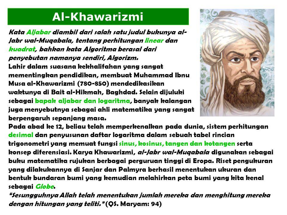 Kata Aljabar diambil dari salah satu judul bukunya al- Jabr wal-Muqabala, tentang perhitungan linear dan kuadrat, bahkan kata Algoritma berasal dari penyebutan namanya sendiri, Algorizm.