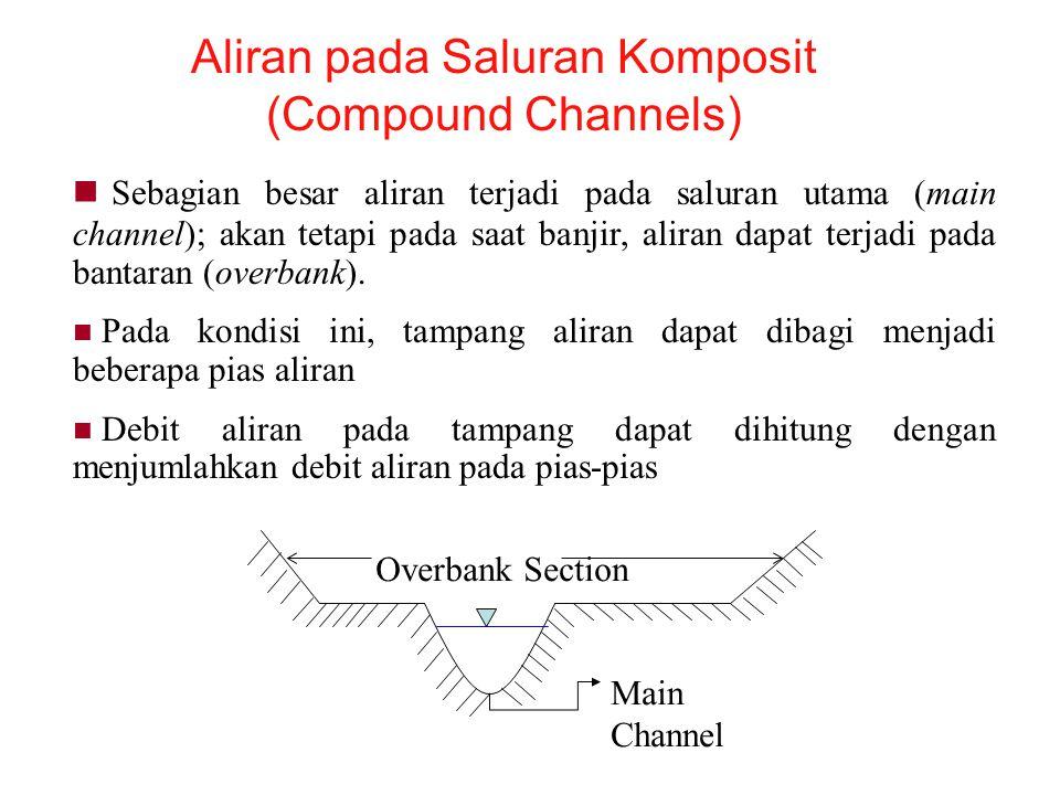 Aliran pada Saluran Komposit (Compound Channels) Sebagian besar aliran terjadi pada saluran utama (main channel); akan tetapi pada saat banjir, aliran