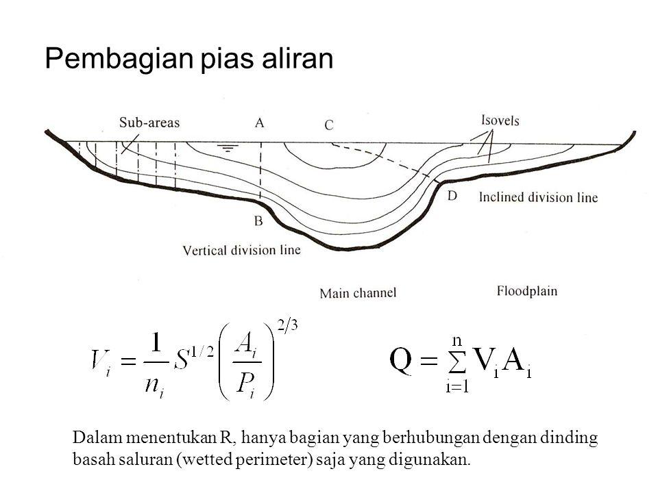 Pembagian pias aliran Dalam menentukan R, hanya bagian yang berhubungan dengan dinding basah saluran (wetted perimeter) saja yang digunakan.