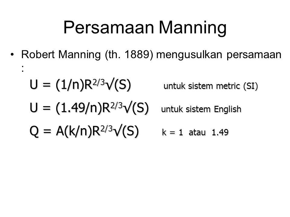 Manning's Over Grass 0,9m 1,5m rumput n=0.03 beton n=0.015 rumput n=0.03 Saluran dengan kekasaran rumput : Untuk tiap tampang : A = 1,5 x 0,9 = 1,35 m 2 P = 1,5 + 0,9 = 2,4 m R = 1,35 m 2 /2,4 m = 0,5625 m Q = 1,35 x (1/0.03) x 0,5625 2/3 x √(0,005) Q = 1,35 x (1/0.03) x 0,5625 2/3 x √(0,005) Q = 2,168 m 3 /d per tampang  Untuk 2 tampang … Q = 2 x 2,168 = 4,336 m 3 /d S = 0.005 1,5m 0,9m