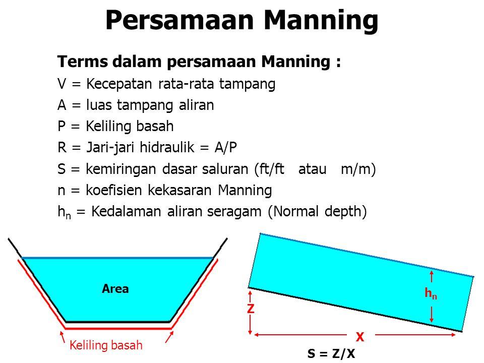 Manning's Over Concrete Saluran dengan dinding beton A = 1,5 x 1,8 = 2,7 m 2 P = 0,9 + 1,5 + 0,9 = 3,3 m R = 2,7 m 2 /3,3 m = 0,8182 m Q = 2,7 x (1/0,015) x 0,8182 2/3 x √(0,005) Q = 2,7 x (1/0,015) x 0,8182 2/3 x √(0,005) Q = 11,133 m 3 /d Untuk seluruh tampang… Q = 4,336 + 11,133 = 15,47 m 3 /d 0,9m 1,5m rumput n=0.03 beton n=0.015 rumput n=0.03 S = 0.005 1,5m 0,9m