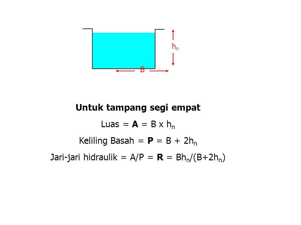 Untuk tampang segi empat Luas = A = B x h n Keliling Basah = P = B + 2h n Jari-jari hidraulik = A/P = R = Bh n /(B+2h n ) B hnhn