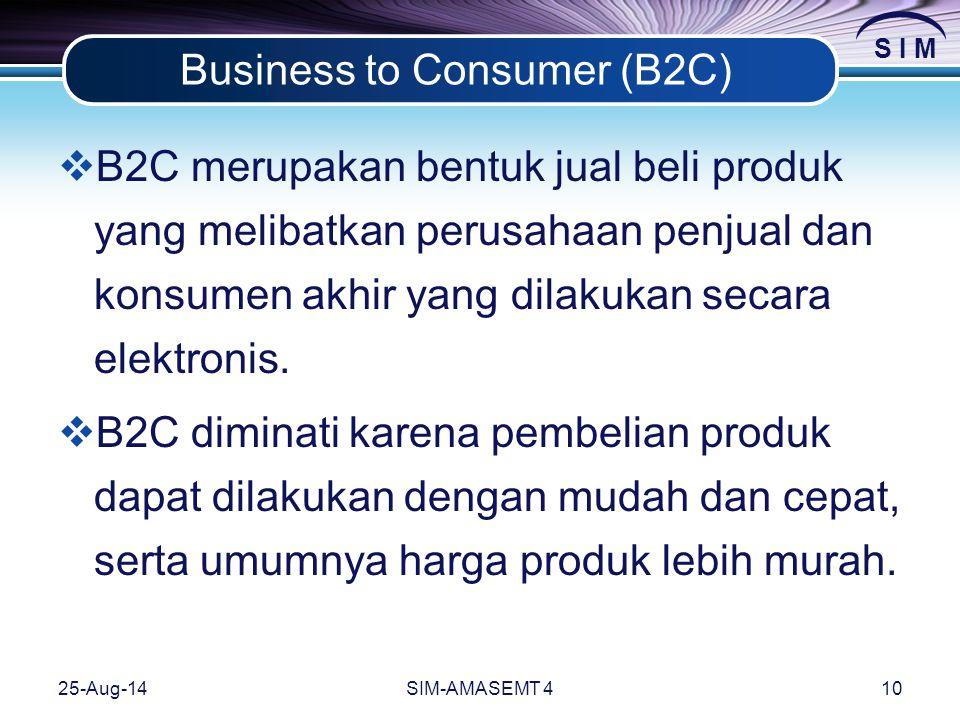 S I M 25-Aug-14SIM-AMASEMT 410 Business to Consumer (B2C)  B2C merupakan bentuk jual beli produk yang melibatkan perusahaan penjual dan konsumen akhir yang dilakukan secara elektronis.