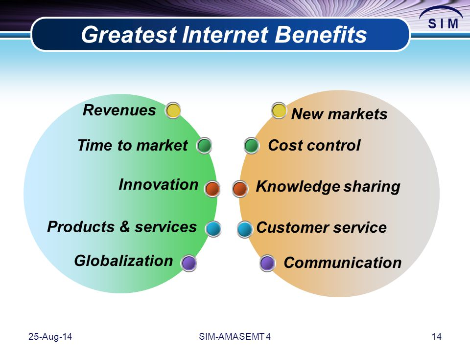 S I M 25-Aug-14SIM-AMASEMT 414 Greatest Internet Benefits Time to market Globalization Products & services Innovation Knowledge sharing Cost control C