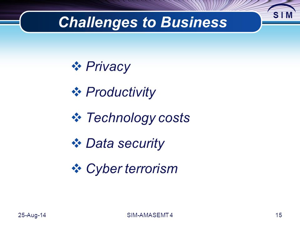 S I M 25-Aug-14SIM-AMASEMT 415 Challenges to Business  Privacy  Productivity  Technology costs  Data security  Cyber terrorism