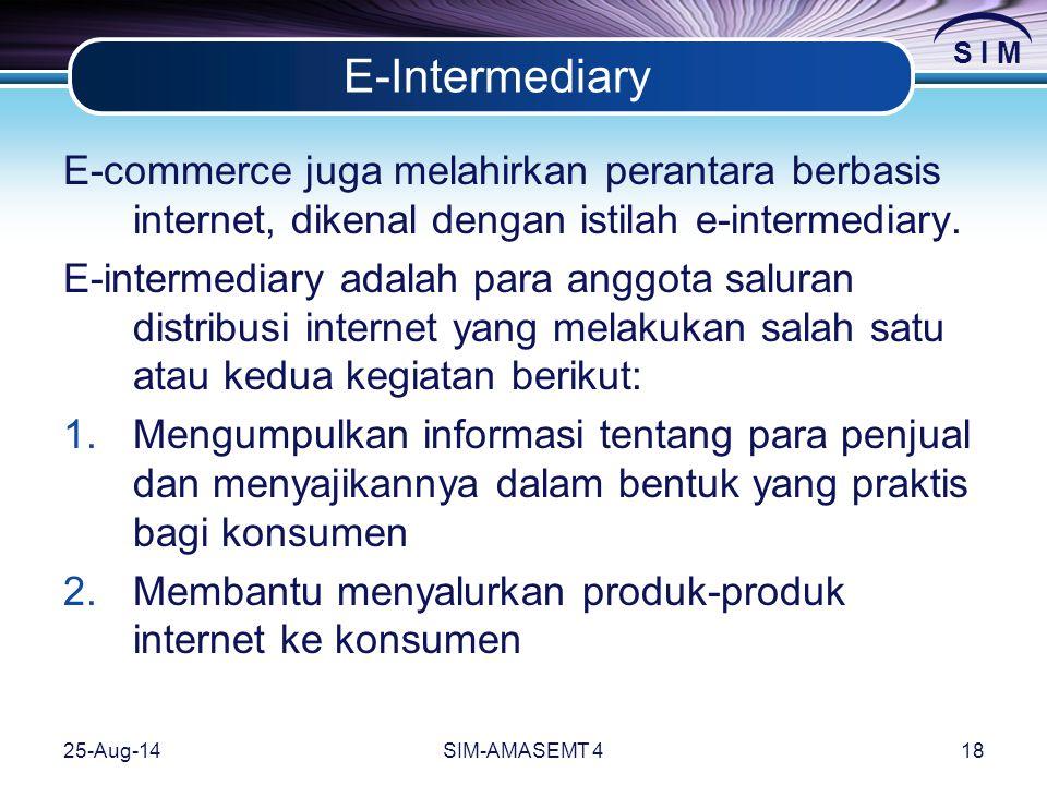 S I M 25-Aug-14SIM-AMASEMT 418 E-Intermediary E-commerce juga melahirkan perantara berbasis internet, dikenal dengan istilah e-intermediary.