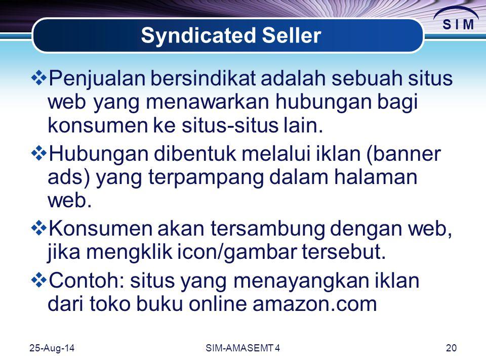 S I M 25-Aug-14SIM-AMASEMT 420 Syndicated Seller  Penjualan bersindikat adalah sebuah situs web yang menawarkan hubungan bagi konsumen ke situs-situs lain.