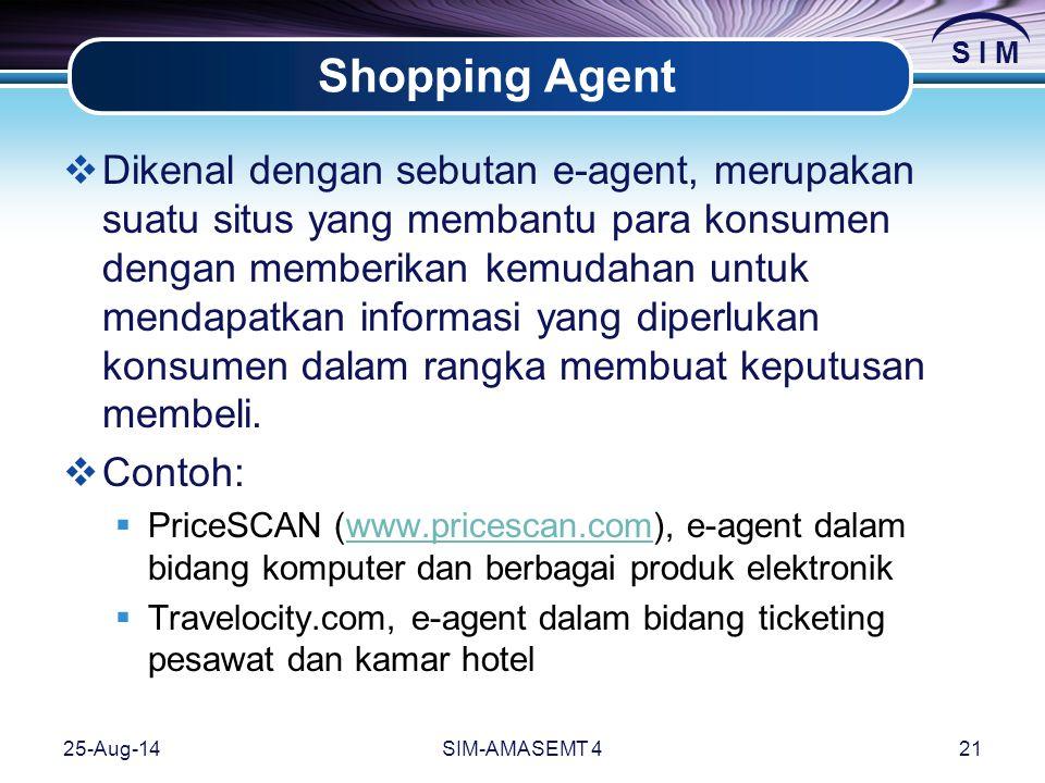S I M 25-Aug-14SIM-AMASEMT 421 Shopping Agent  Dikenal dengan sebutan e-agent, merupakan suatu situs yang membantu para konsumen dengan memberikan kemudahan untuk mendapatkan informasi yang diperlukan konsumen dalam rangka membuat keputusan membeli.