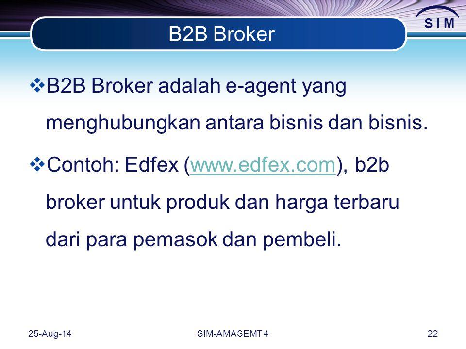 S I M 25-Aug-14SIM-AMASEMT 422 B2B Broker  B2B Broker adalah e-agent yang menghubungkan antara bisnis dan bisnis.
