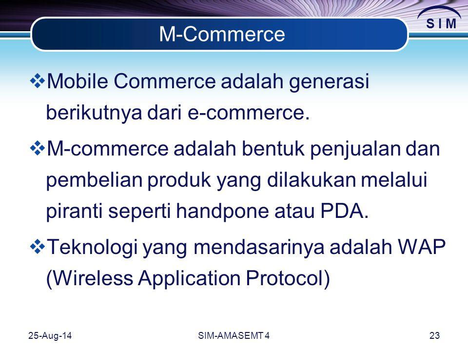 S I M 25-Aug-14SIM-AMASEMT 423 M-Commerce  Mobile Commerce adalah generasi berikutnya dari e-commerce.