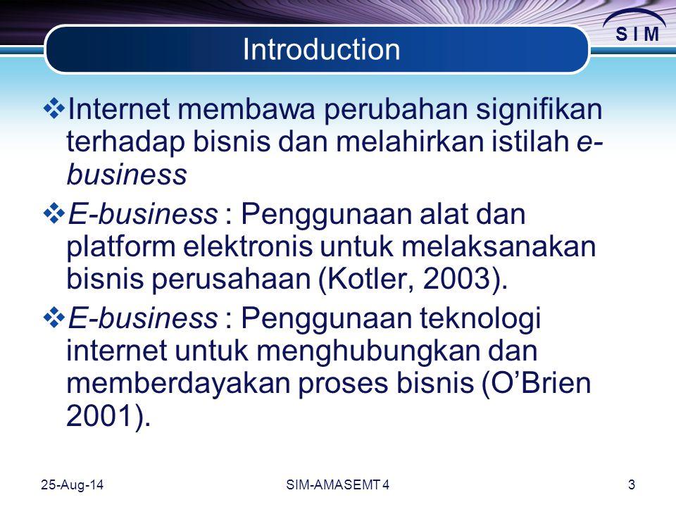 S I M 25-Aug-14SIM-AMASEMT 43 Introduction  Internet membawa perubahan signifikan terhadap bisnis dan melahirkan istilah e- business  E-business : Penggunaan alat dan platform elektronis untuk melaksanakan bisnis perusahaan (Kotler, 2003).