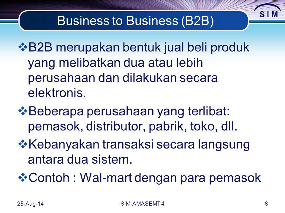 S I M 25-Aug-14SIM-AMASEMT 48 Business to Business (B2B)  B2B merupakan bentuk jual beli produk yang melibatkan dua atau lebih perusahaan dan dilakukan secara elektronis.