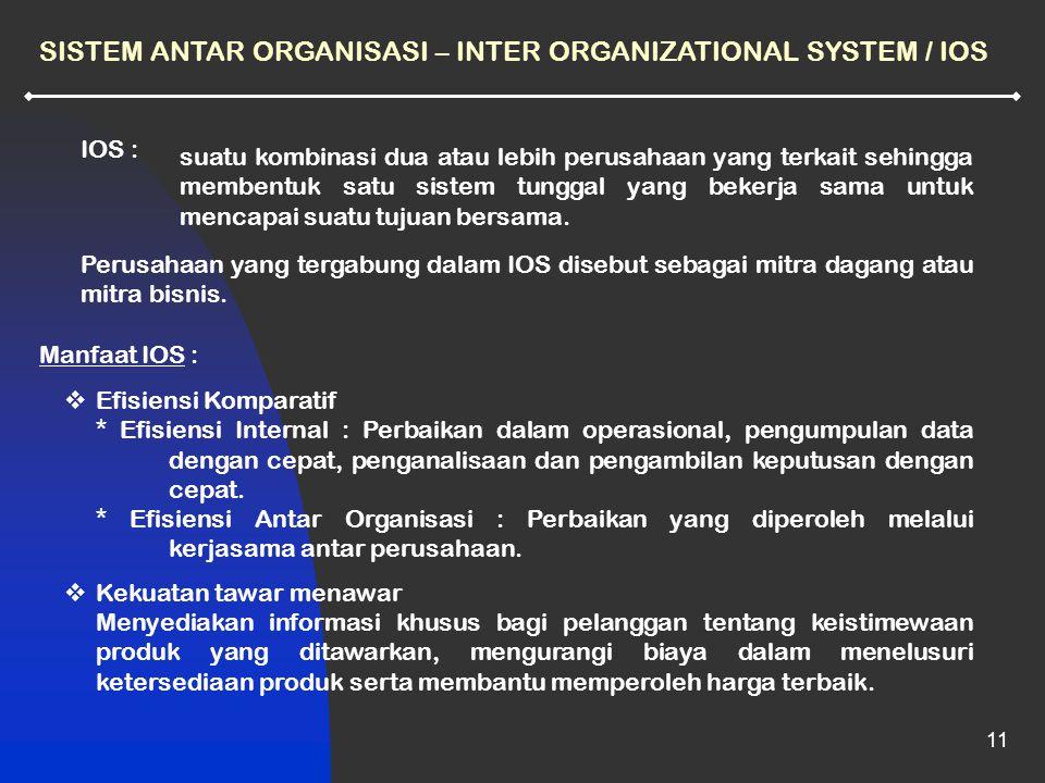 11  Efisiensi Komparatif * Efisiensi Internal : Perbaikan dalam operasional, pengumpulan data dengan cepat, penganalisaan dan pengambilan keputusan dengan cepat.