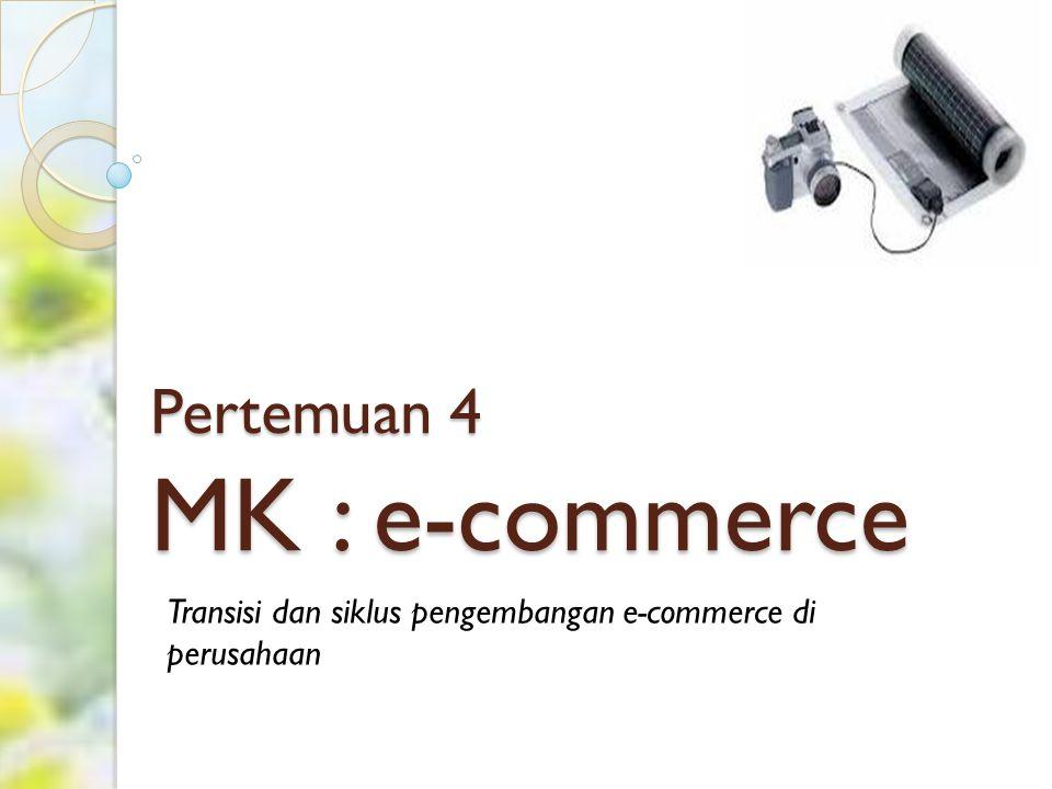 Pokok Bahasan Transisi dan siklus pengembangan e- commerce di perusahaan ◦ Alasan Membangun dan mengimplementasikan sebuah sistem E-Commerce