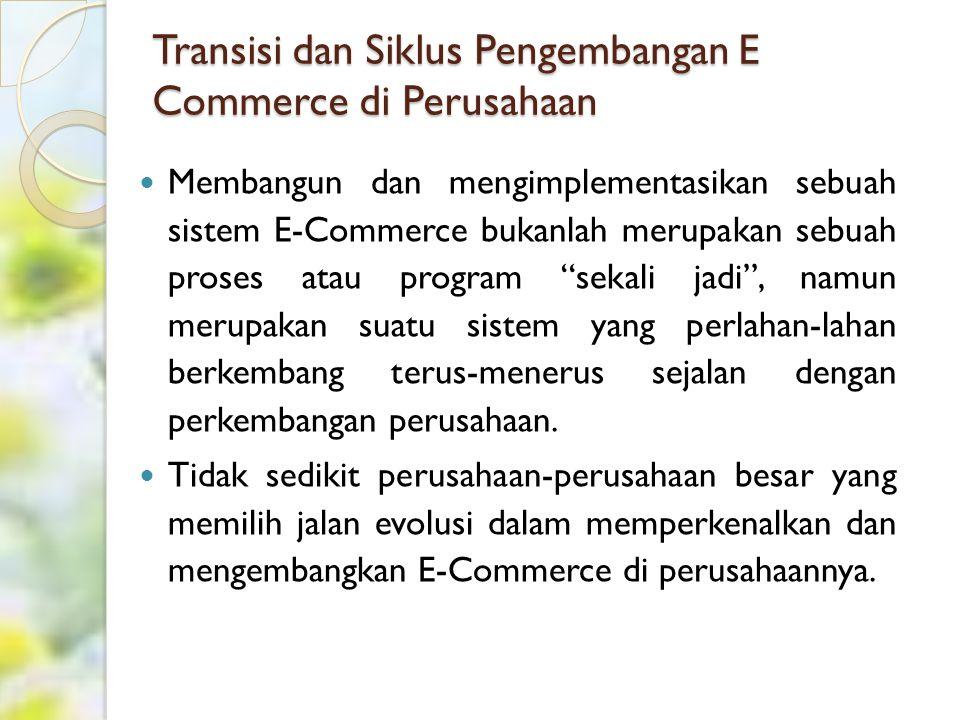 Cont'd Alasan utama yang melatarbelakangi pemikiran ini adalah sebagai berikut: Mengimplementasikan sebuah sistem E- Commerce tidak semudah atau sekedar mempergunakan sebuah perangkat aplikasi baru, namun lebih kepada pengenalan sebuah prosedur kerja baru (transformasi bisnis).
