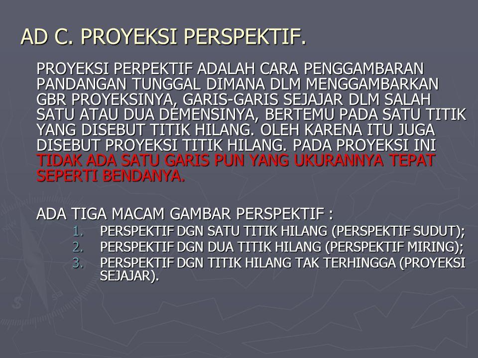 AD C. PROYEKSI PERSPEKTIF. PROYEKSI PERPEKTIF ADALAH CARA PENGGAMBARAN PANDANGAN TUNGGAL DIMANA DLM MENGGAMBARKAN GBR PROYEKSINYA, GARIS-GARIS SEJAJAR