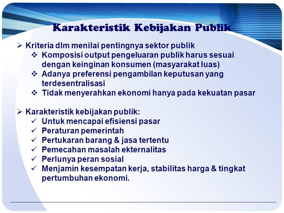 Karakteristik Kebijakan Publik  Kriteria dlm menilai pentingnya sektor publik  Komposisi output pengeluaran publik harus sesuai dengan keinginan kon