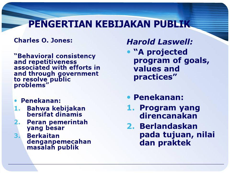 "Harold Laswell: ""A projected program of goals, values and practices"" Penekanan: 1.Program yang direncanakan 2.Berlandaskan pada tujuan, nilai dan prak"