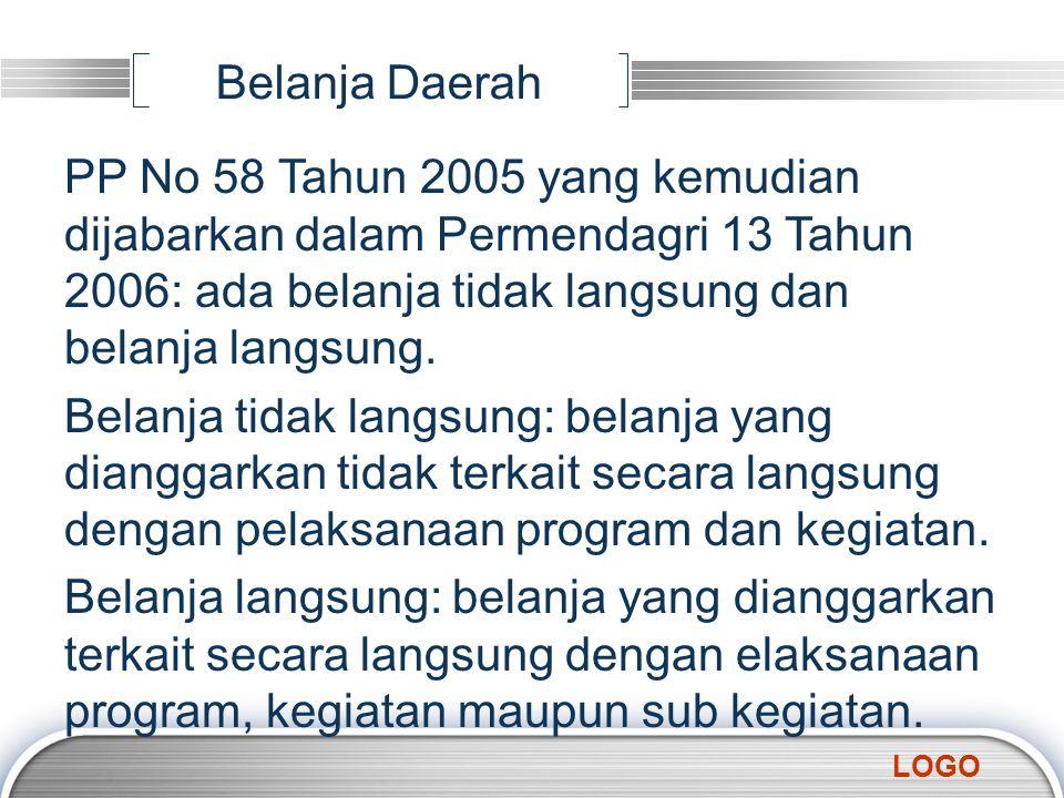 LOGO Belanja Daerah PP No 58 Tahun 2005 yang kemudian dijabarkan dalam Permendagri 13 Tahun 2006: ada belanja tidak langsung dan belanja langsung. Bel