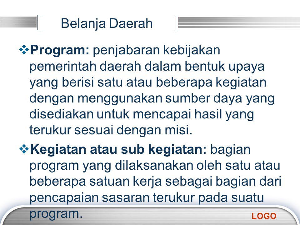 LOGO Belanja Daerah  Program: penjabaran kebijakan pemerintah daerah dalam bentuk upaya yang berisi satu atau beberapa kegiatan dengan menggunakan su