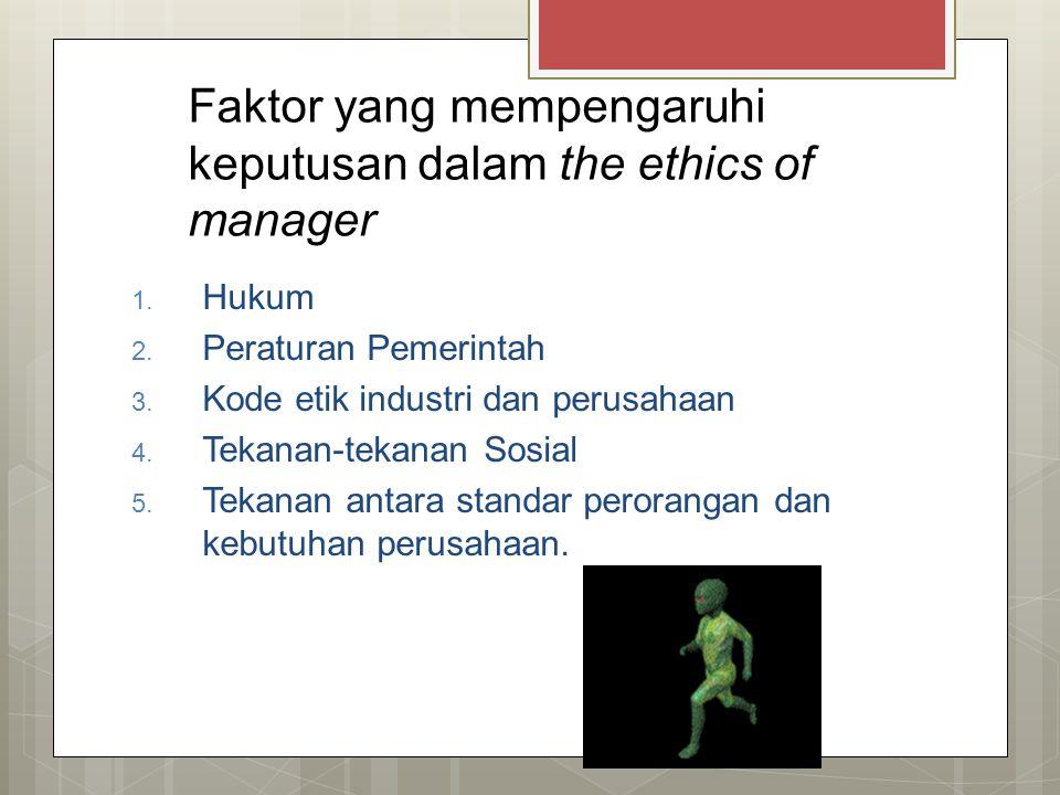 Faktor yang mempengaruhi keputusan dalam the ethics of manager 1. Hukum 2. Peraturan Pemerintah 3. Kode etik industri dan perusahaan 4. Tekanan-tekana