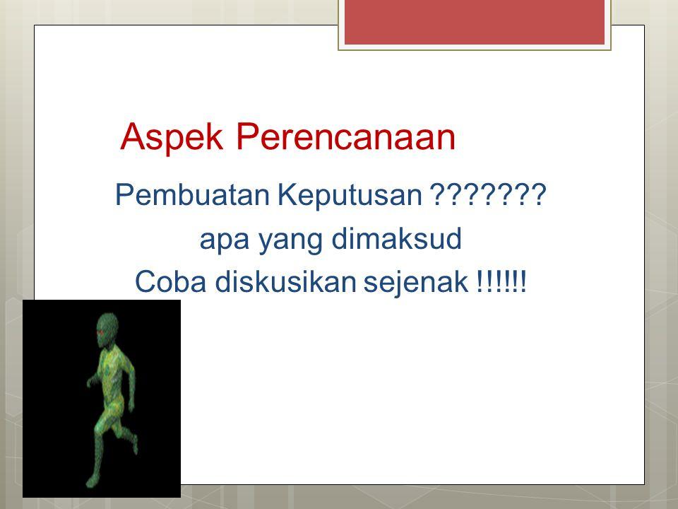 Aspek Perencanaan Pembuatan Keputusan ??????? apa yang dimaksud Coba diskusikan sejenak !!!!!!