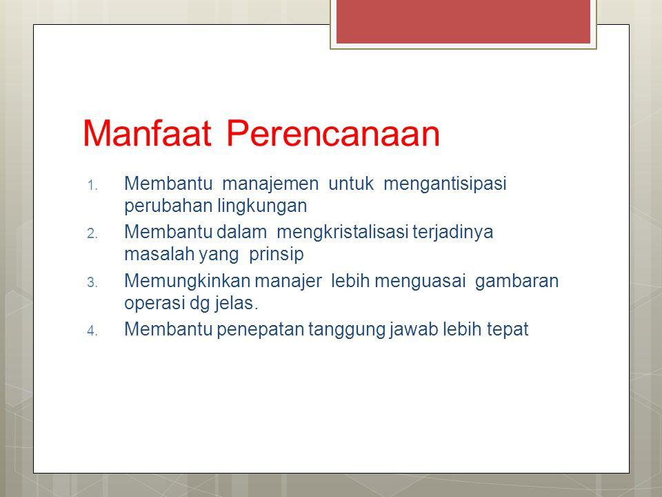 Manfaat Perencanaan 1.Membantu manajemen untuk mengantisipasi perubahan lingkungan 2.