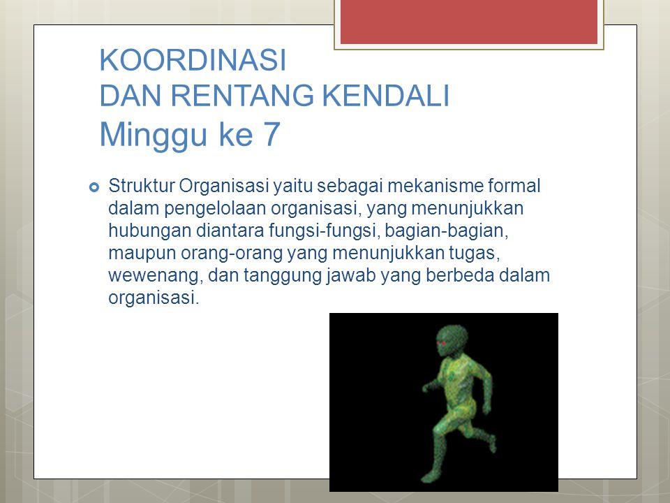 KOORDINASI DAN RENTANG KENDALI Minggu ke 7  Struktur Organisasi yaitu sebagai mekanisme formal dalam pengelolaan organisasi, yang menunjukkan hubunga