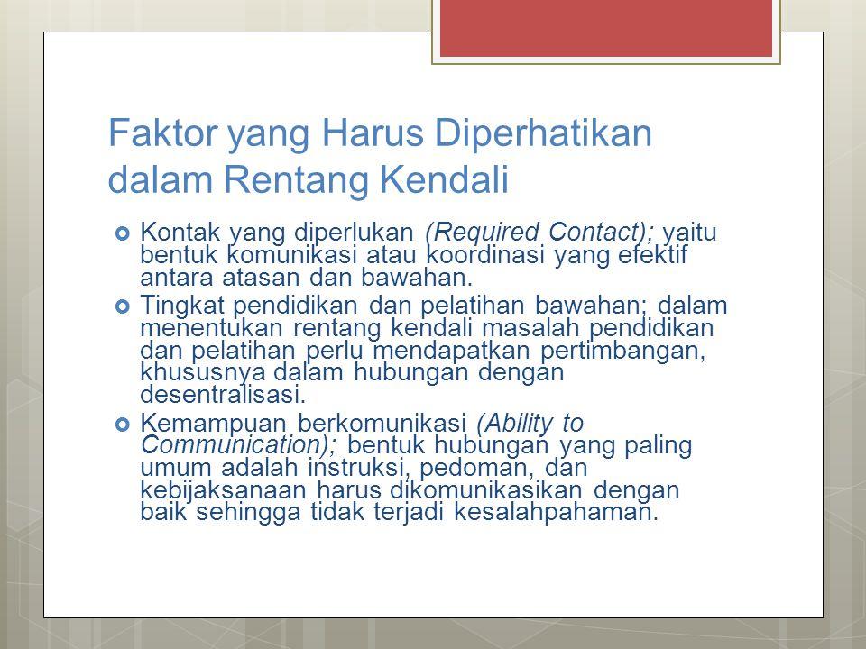 Faktor yang Harus Diperhatikan dalam Rentang Kendali  Kontak yang diperlukan (Required Contact); yaitu bentuk komunikasi atau koordinasi yang efektif