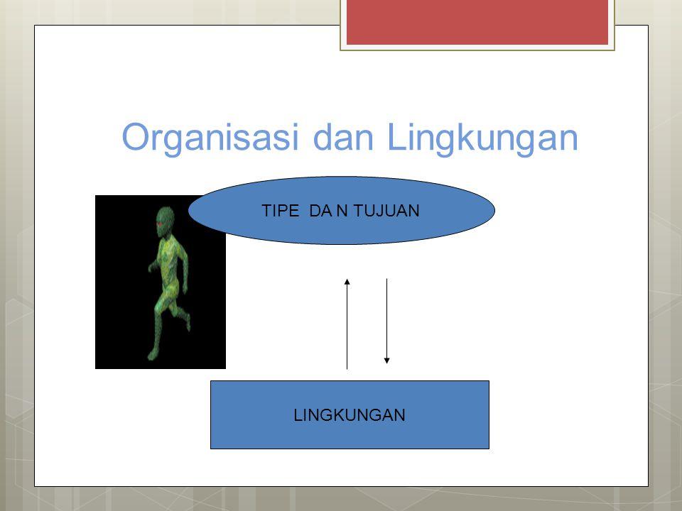 Organisasi dan Lingkungan TIPE DA N TUJUAN LINGKUNGAN