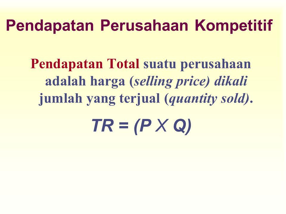 Pendapatan Perusahaan Kompetitif Pendapatan Total suatu perusahaan adalah harga (selling price) dikali jumlah yang terjual (quantity sold). TR = (P X