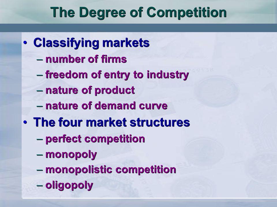 Struktur Pasar n Struktur pasar adalah dengan melihat pasar yang berdasarkan pada: 1.Ciri-ciri barang yang dihasilkan 2.Banyak tidaknya perusahaan 3.Mudah tidaknya perusahaan baru menjalankan kegiatan produksi 4.Besarnya kekuasaan suatu perusahaan di dalam pasar