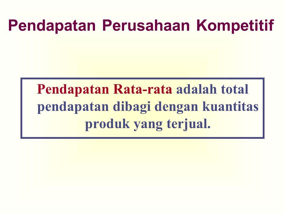 Pendapatan Rata-rata adalah total pendapatan dibagi dengan kuantitas produk yang terjual. Pendapatan Perusahaan Kompetitif