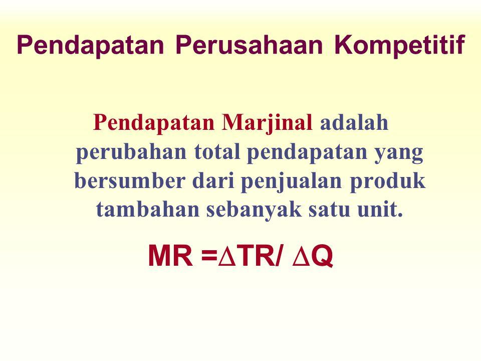 Pendapatan Marjinal adalah perubahan total pendapatan yang bersumber dari penjualan produk tambahan sebanyak satu unit. MR =  TR/  Q Pendapatan Peru