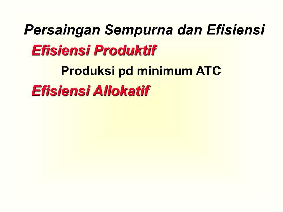 Efisiensi Produktif Efisiensi Allokatif Produksi pd minimum ATC Persaingan Sempurna dan Efisiensi
